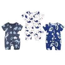 WINZIK Toddler Baby Boy Girl Zipper Pajamas Summer Short Sleeve Cotton One-Piece Bodysuit Romper for 3M-3Y