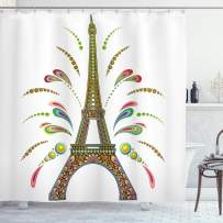 """Ambesonne Psychedelic Shower Curtain, France Eiffel Tower Abstract Fireworks Design Rainbow Psychedelic Patterns Art, Cloth Fabric Bathroom Decor Set with Hooks, 70"""" Long, White Yellow"""