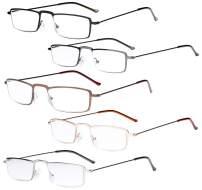 Eyekepper 5-Pack Stainless Steel Frame Half-Eye Style Reading Glasses Readers +2.0
