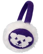 Kids Girls Winter Warm Faux Fur Plush Patterned Earwarmer Knitted Earmuffs