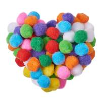 PandaHall Elite About 250 Pcs Assorted Pompoms Multicolor Arts and Crafts Fuzzy Pom Poms Balls Diameter 30mm for DIY Doll Creative Crafts Decorations