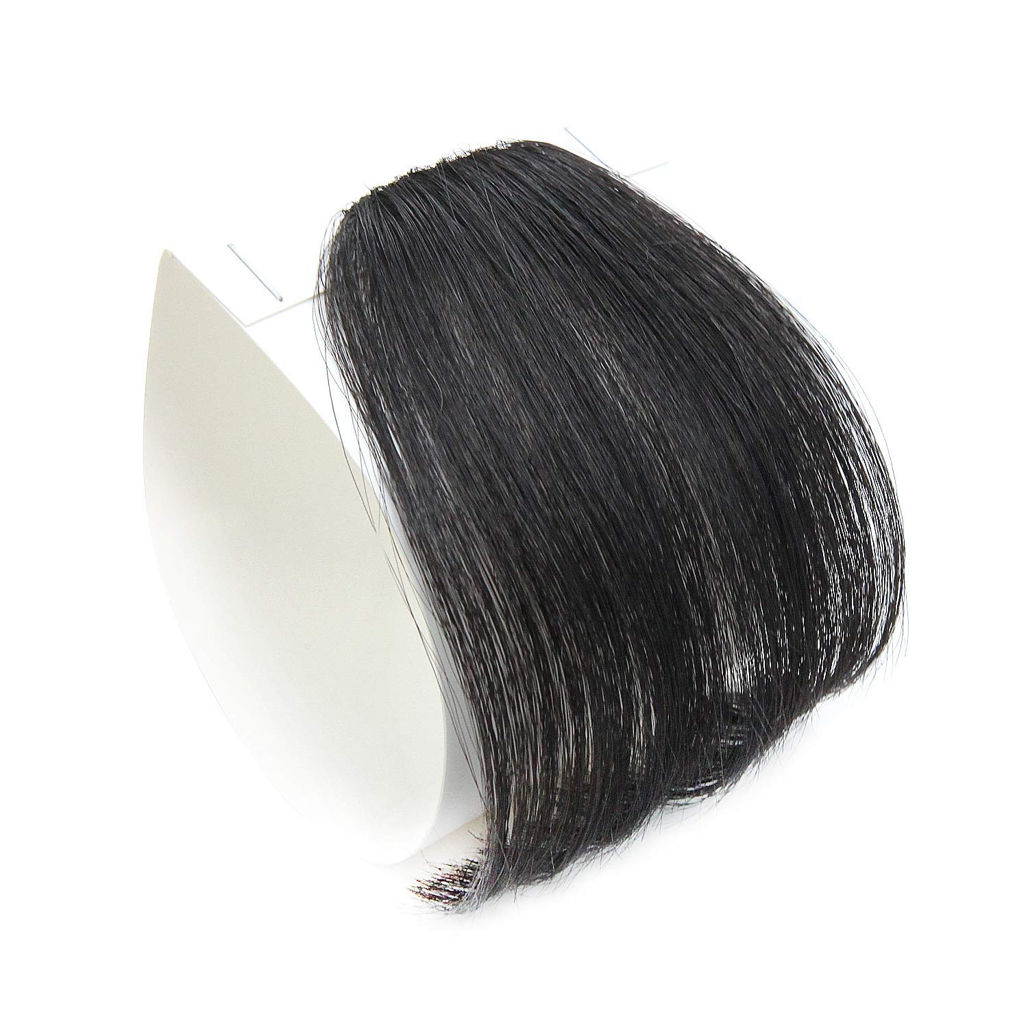 PARAHAIR Clip in Bangs Synthetic Hair Extensions One Piece in Fringe Natural Flat Air Bangs for Women (No Temples, Jet Black)