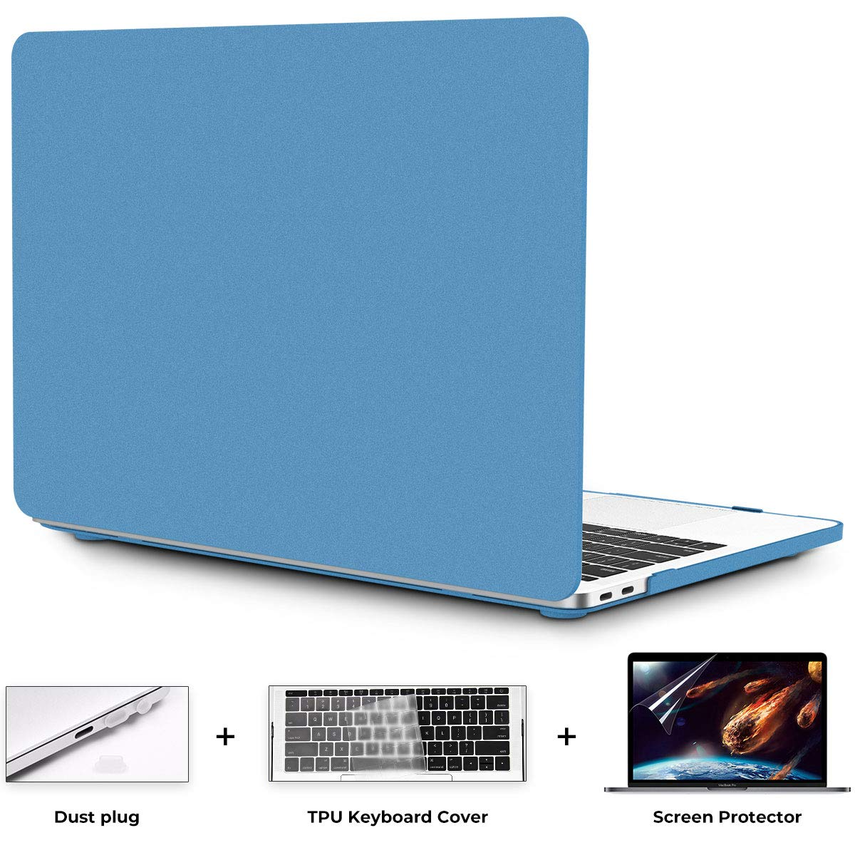 OneGET Macbook Air 13 Inch Case 2018 Laptop Case Macbook Air 13 inch Release A1932 with Retina Display Computer Case Macbook Air13 Hard Shell Business Quicksand Macbook Air 13 Case with Touch ID(Blue)