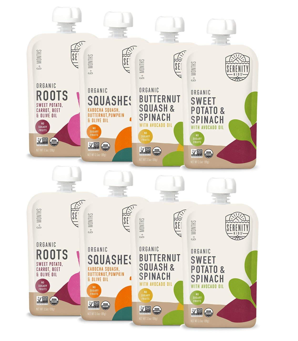 Serenity Kids Baby Food, Organic Savory Veggies Variety Pack with Organic Roots, Sweet Potato, Squashes and Butternut with Spinach, For 6+ Months, 3.5 Ounce Pouch (8 Pack)