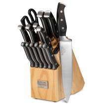 Professional 15-Piece German High Carbon Stainless Steel Kitchen Knife Set, Ocean Series Premium Forged Full Tang Chef Knives Set with Rubber Wood Block, Black