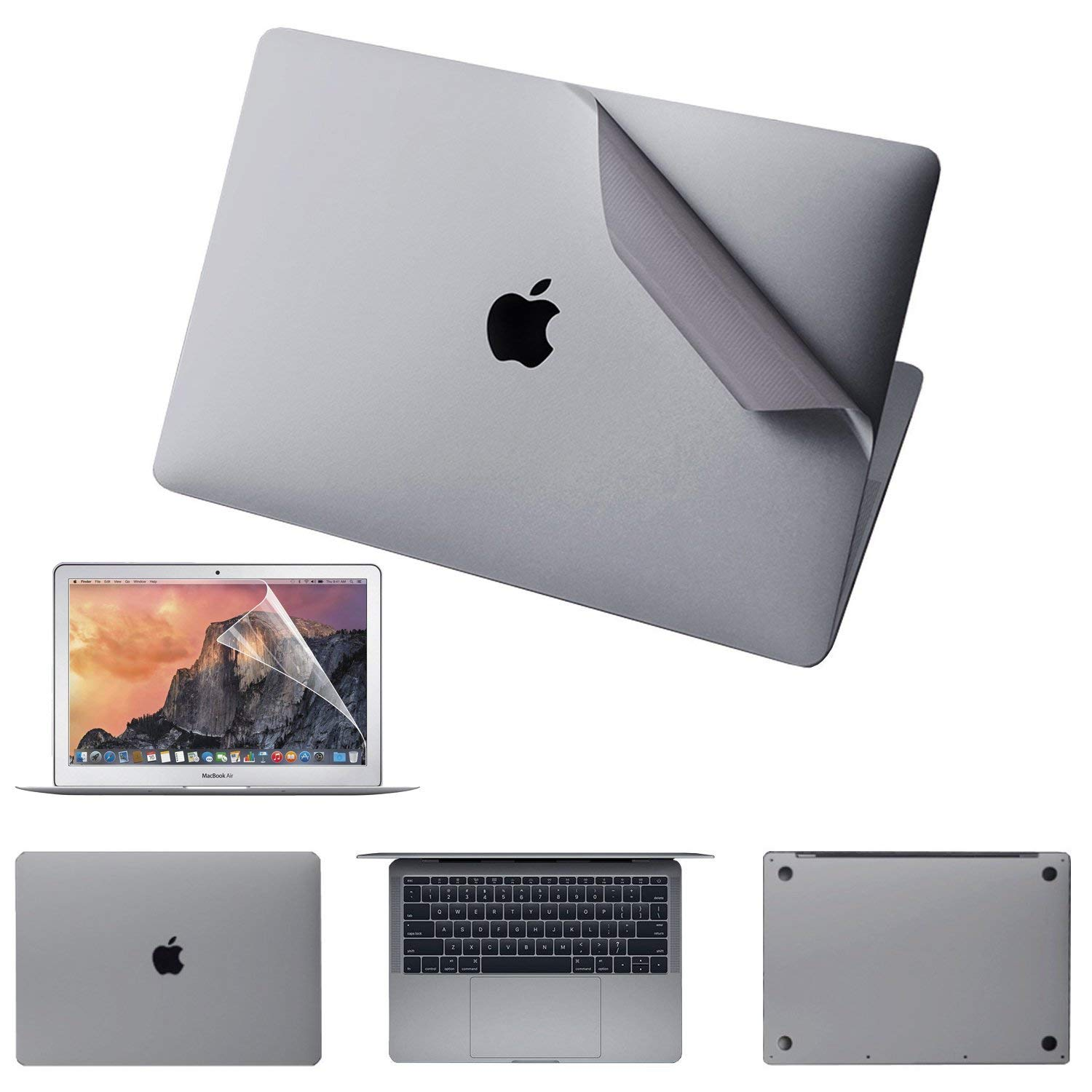 JRCMAX 5-in-1 Full Body Skin Sticker for MacBook Pro 13 Inch Without Touchbar A1708, 3M Full-Cover Protector Vinyl Decal Skin [Top + Bottom + Touchpad + Palm Rest) Silver