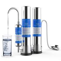 SimPure Countertop Water Filter, Stainless Steel Drinking Water Purifier, Easy to Use Portable Faucet Mounted Filter