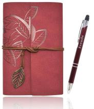 Refillable Leather Journals Notebook A6(7×5inch) Lined Paper Travel Diary Women's Small Pocket Notebook, Journals to Write in for Women Best Gift for Teens(Wine Red)
