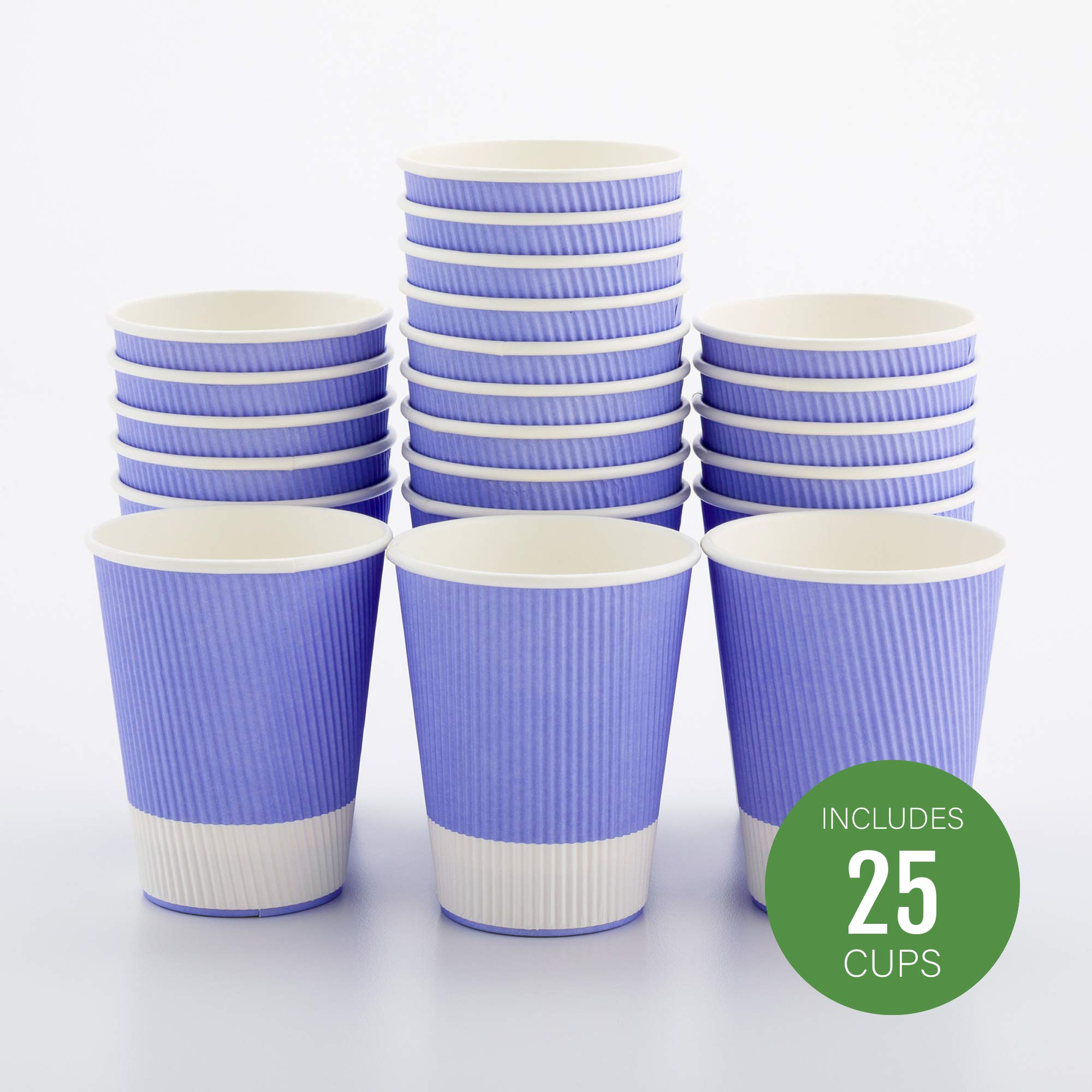 Insulated Paper Coffee Cups - Ripple Wall - Light Purple - 12 oz - 25ct Box - MATCHING LIDS SOLD SEPARATELY: RWA0360B, RWA0360W, RWA0328LG, RWA0328GR, RWA0328HP, RWA0283W, RWA0283B