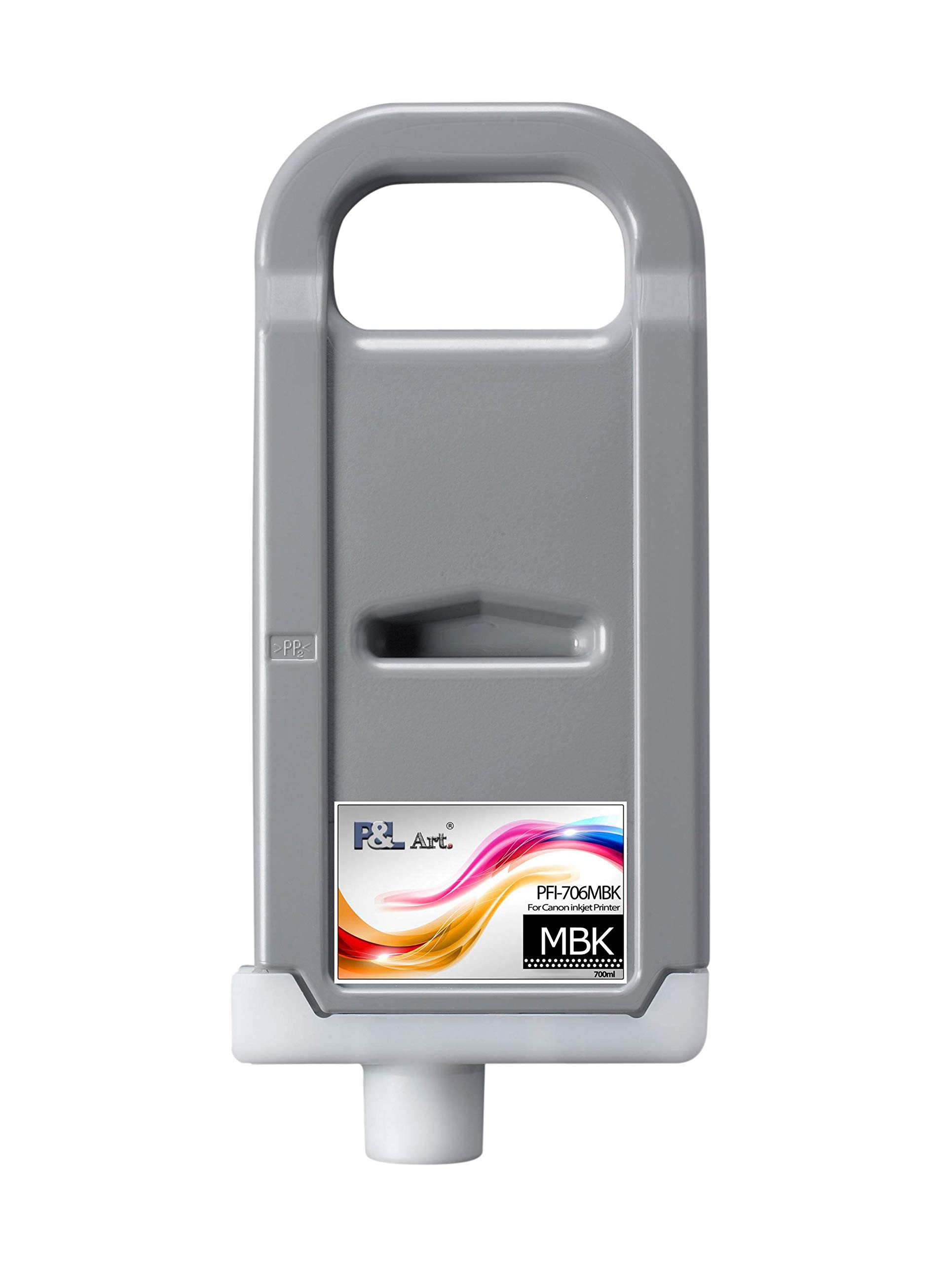 P&L ART. PFI-706MBK Pigment Ink Tank 700ml, Refillable Cartridge with Chip and Ink, 100% Compatible for Canon iPF8400 iPF9400 Printer, Matte Black Original Cartridge