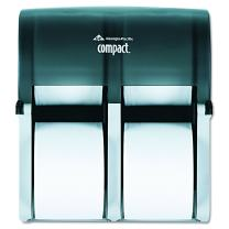 "Compact 4-Roll Quad Coreless High-Capacity Toilet Paper Dispenser by GP PRO (Georgia-Pacific), Translucent Smoke, 56744, 11.750"" W x 6.900"" D x 13.250"" H"