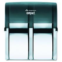 "Compact 4-Roll Quad Coreless High-Capacity Toilet Paper Dispenser by GP PRO (Georgia-Pacific), Translucent Smoke, 56744, 11.750"" W x 6.900"" D x 13.250"" H"