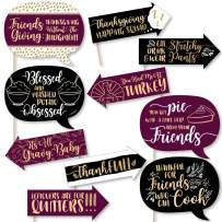 Big Dot of Happiness Funny Elegant Thankful for Friends - Friendsgiving Thanksgiving Party Photo Booth Props Kit - 10 Piece
