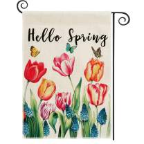 DOLOPL Spring Garden Flag 12.5x18 Inch Double Sided Decorative Hello Spring Watercolor Tulips Butterflies Floral Yard Garden House Flag for Spring Outdoor Indoor Decoration