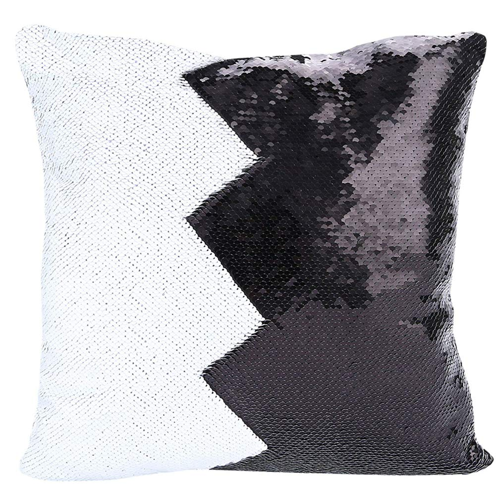 """URSKYTOUS Reversible Sequin Pillow Case Decorative Mermaid Pillow Cover Color Changing Cushion Throw Pillowcase 16"""" x 16"""",Black and White"""