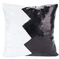 "URSKYTOUS Reversible Sequin Pillow Case Decorative Mermaid Pillow Cover Color Changing Cushion Throw Pillowcase 16"" x 16"",Black and White"