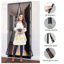 Magnetic Screen Door 36×96 Mesh Curtain Front Door Screen,Heavy Duty,Fiberglass Screen Door with Full Frame Hook&Loop Fits Door Size up to 36x96 Inch Max,Grey…