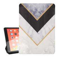 Hepix White Marble iPad 10.2 Case Geometry iPad 7th Generation Case 2019 with Pencil Holder, Slim Protective Silicone Rubber Back Cover with Auto Wake/Sleep, Trifold Stand Shock Absorption
