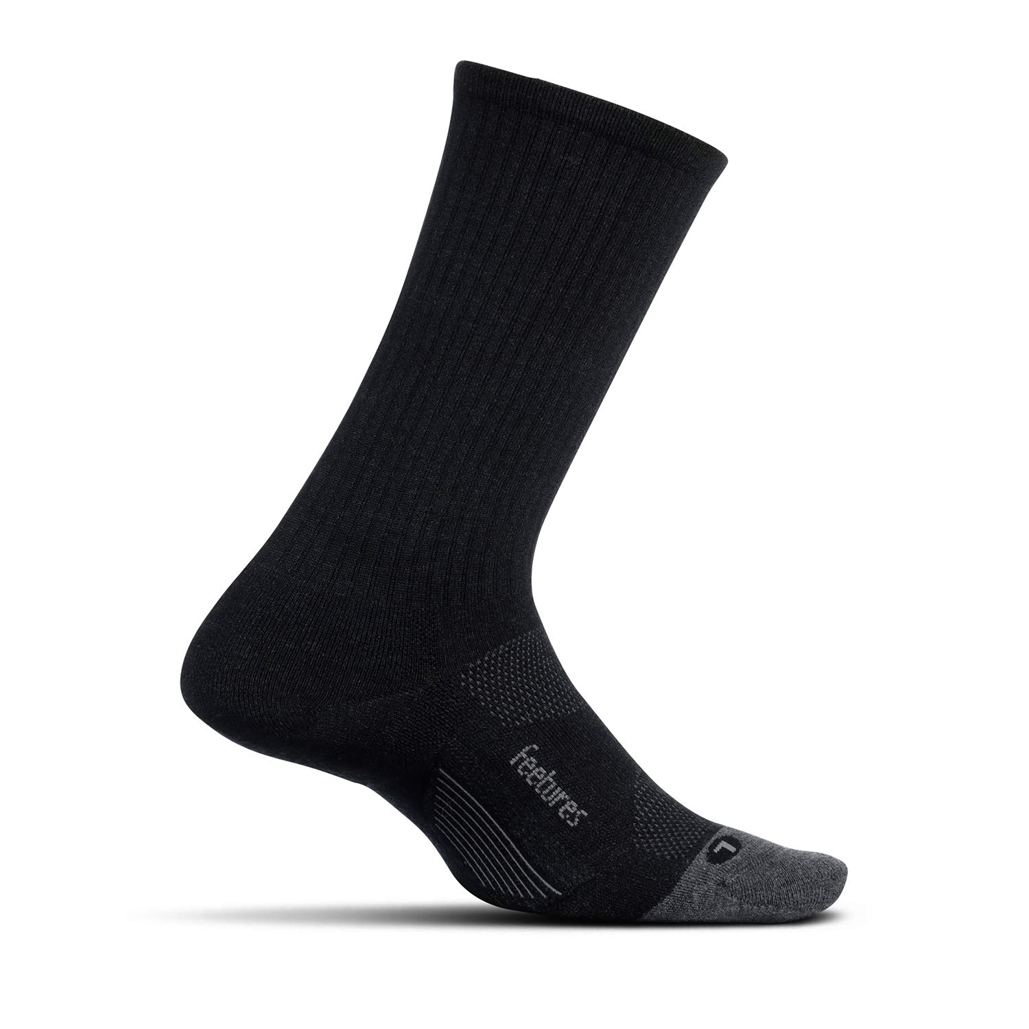 Feetures Unisex Merino 10 Cushion Crew Sock (Small, Charcoal)