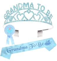 Grandma to Be Crown Set, Grandma Sash, Baby Shower Grandson Granddaughter Party Grandma Decorations, Grandma to Be Baby Shower Tiara Hearts Crown + Sash and Pin Gift to Grandma, New Grandma Gifts