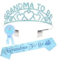 Grandma to Be Crown Set, Grandma Sash, Baby Shower Grandson Granddaughter Party Grandma Decorations, Grandma to Be Baby Shower Tiara Hearts Crown + Sash and Pin Gift to Grandma, New Grandma Gifts
