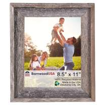 BarnwoodUSA | Farmhouse Style Rustic 8.5x11 Picture Frame | Signature Molding | 100% Reclaimed Wood | Rustic | Natural Weathered Gray