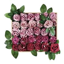Meiliy 60pcs Artificial Flowers Rose Heads Real Looking Foam Roses Bulk w/Stem for DIY Wedding Bouquets Corsages Centerpieces Arrangements Baby Shower Cake Flower Decorations (Mauve Gradient Combo)