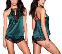 Women Satin Lingerie Sleepwear - Sexy Floral Lace V Neck Adjustable Strap Open Back Nightie Teddy with Shorts for Women