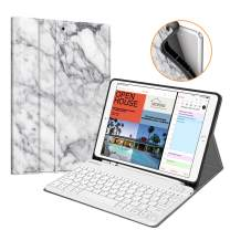 "Fintie iPad Air 3rd Gen 10.5"" 2019 / iPad Pro 10.5"" 2017 Keyboard Case w/Pencil Holder, SlimShell Soft TPU Back Protective Stand Cover w/Magnetically Detachable Wireless Bluetooth Keyboard, Marble"
