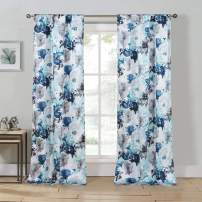 Kensie Halle Floral Pole Top Window Curtain Drapes For Bedroom, Livingroom, Kids Room, Children, Nursery - Assorted Colors - Set of 2 Panels, 38 X 84, Blue, 2 Piece