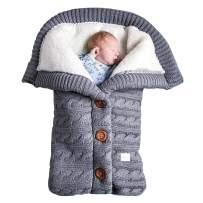 Newborn Baby Swaddle Blanket, Baby Kids Toddler Knit Soft Warm Fleece Blanket Swaddle Sleeping Bag Stroller Unisex Wrap for Boys Girls (Grey)