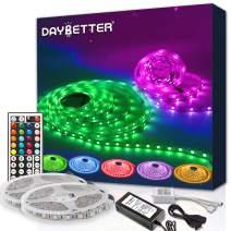 DAYBETTER LED Strip Lights 600leds 32.8ft with Remote SMD 5050 Color Changing LED Strip Light Kit for Room, Kitchen, Bedroom, Home Decoration Led Lights