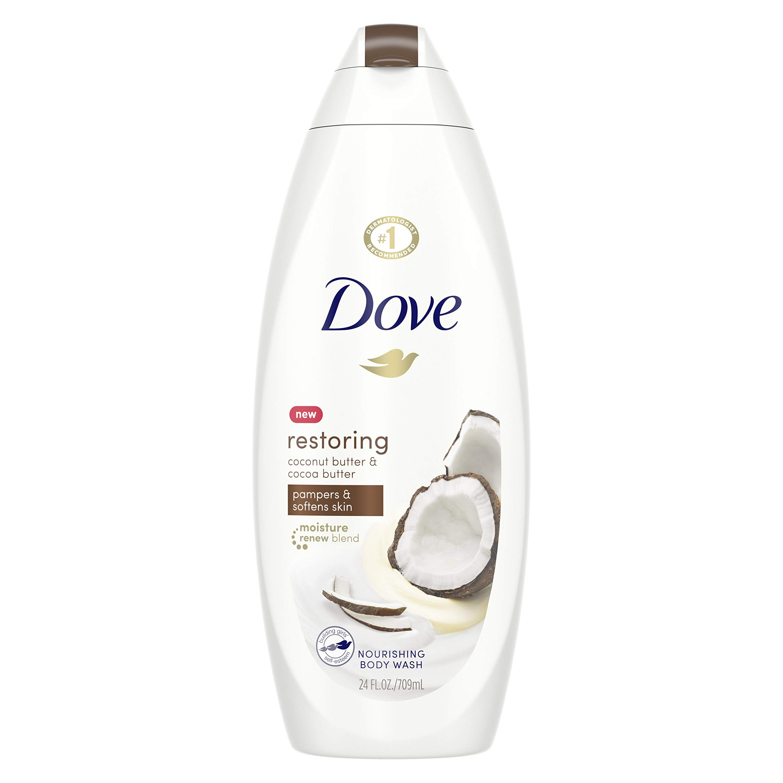 Dove Purely Pampering Body Wash 100%,Gentle Cleansers, Sulfate Free Coconut Butter and Cocoa Butter Gentle Cleansing Bodywash 22 oz