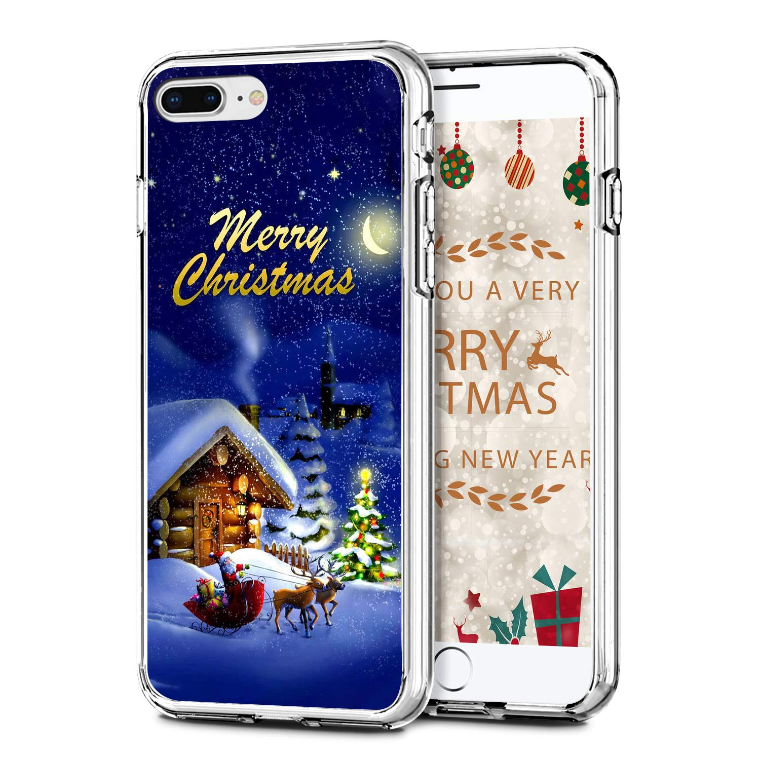 """Newseego Compatible with iPhone 7/8 Plus Christmas Case, Shockproof Series Anti-Yellow Hard PC + TPU Bumper Protective Cover for iPhone 7/8 Plus 5.5"""" Merry Christmas Night Design"""