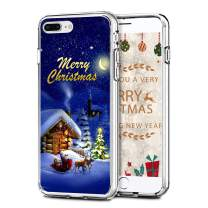 "Newseego Compatible with iPhone 7/8 Plus Christmas Case, Shockproof Series Anti-Yellow Hard PC + TPU Bumper Protective Cover for iPhone 7/8 Plus 5.5"" Merry Christmas Night Design"