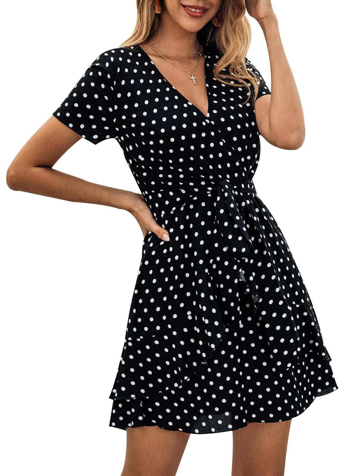 SHIBEVER Womens Summer Dresses Casual for Women Sundress Bohemian Boho Wrap Dress Women Striped Dress V Neck Classic Party Swing Dress Black-2 XL