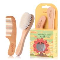 Baby Goat Hair Brush and Comb Set for Newborns & Toddlers Eco-Friendly Safe Brush for Cradle Cap Natural Wooden Comb Perfect Baby Shower and Registry Gift (Baby Hair Brush and Comb Set)