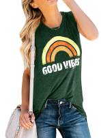 Umeko Womens Good Vibes Tank Tops Loose fit Graphic Tees Rainbow Workout Sleeveless T Shirts