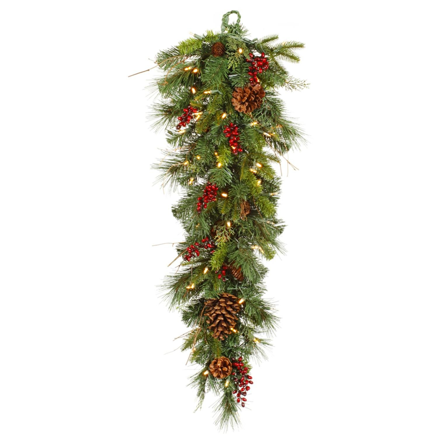 """Vickerman 36"""" Pre-lit Cibola Mix Berry Pine Artificial Christmas Teardrop Swag - Warm Clear LED Lights"""