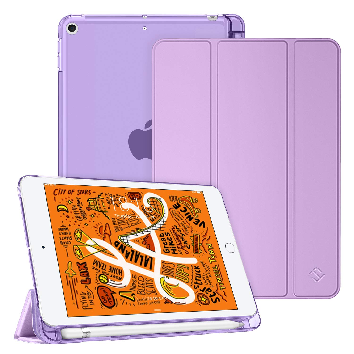 """Fintie Case for iPad Mini 7.9"""" 2019 - Lightweight Slim Shell Cover with Translucent Frosted Back Protector Supports Auto Wake/Sleep for 2019 New iPad Mini 7.9 Inch, Lavender Purple"""