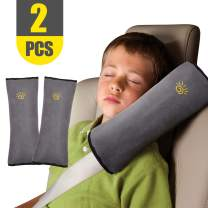 2PCS Seat Belt Pillow for Kids Car Belt Covers Shoulder Pads Safety Belt Protector Cushion Plush Belt Strap Cover Head Neck Support for Children Baby (Shoulderpad Grey)