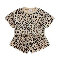 Toddler Baby Girls Leopard Print Summer Clothes Outfits T-Shirt and Short Pants 2pcs Set