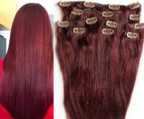 """Hair Faux You 20"""" Clip in Hair Extensions Real Human Hair 90g Clip on for Full Head 7 pieces, 14 clips, Silky Straight Weft Remy Hair Color #99J BURGUNDY RED"""