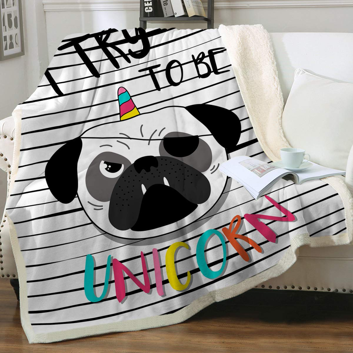 """Sleepwish Sherpa Fleece Bed Throw Pug Unicorn Black White Stripes Print Soft and Fuzzy Plush Blanket Gifts for Pet Animals Puppy Dog Lovers Twin(60""""x80"""")"""