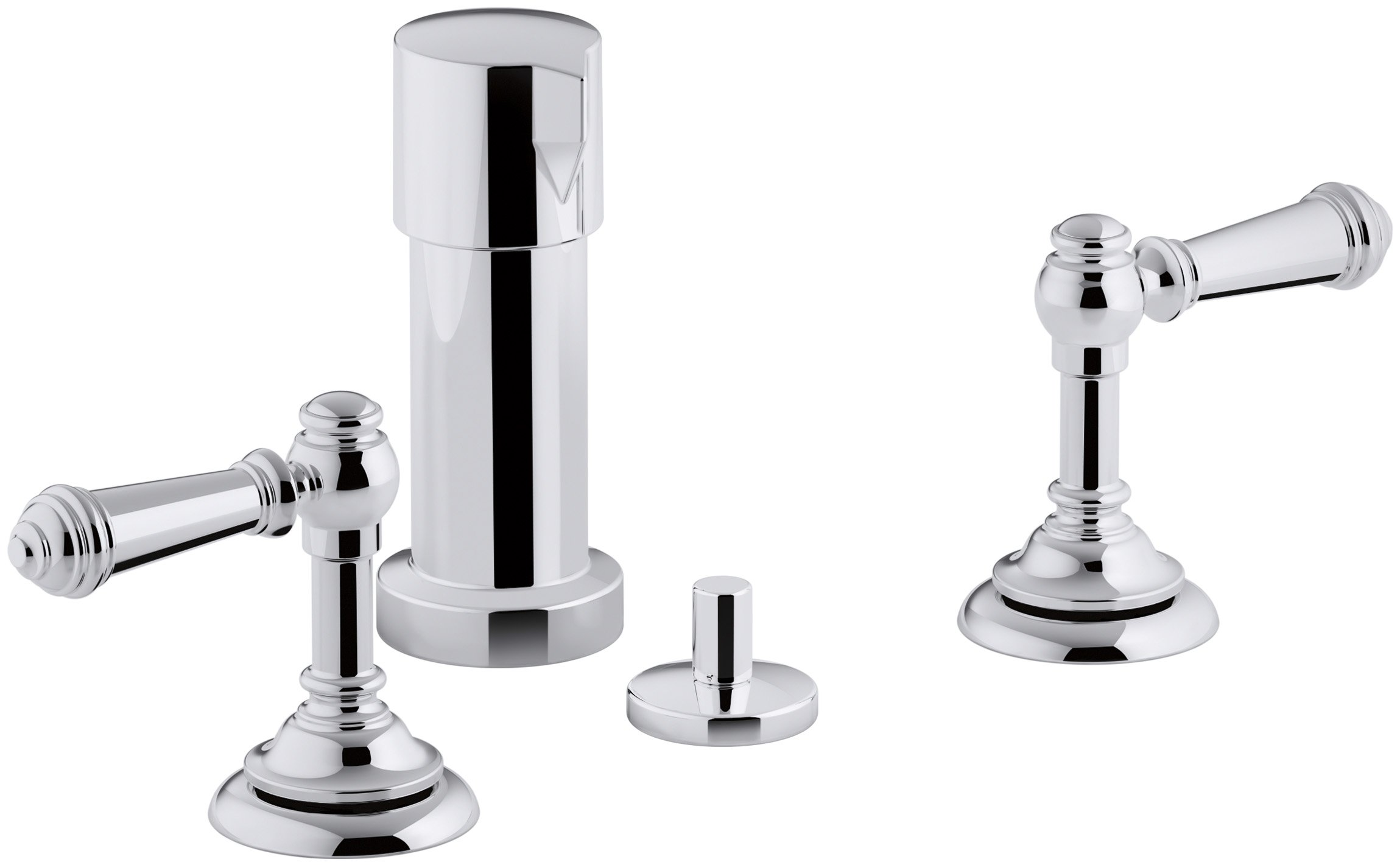 KOHLER K-72765-4-CP Artifacts Widespread bidet faucet with lever handles, Polished Chrome