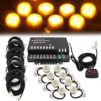 FOXCID 160W LED Hide Away Emergency Strobe Light Headlight Kit Hazard Waring System 8 Bulbs (Amber)