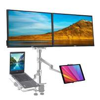 4 arm Height Adjustable Desk Bed Holder Mount Stand for 10 to 17 inch Laptop and Double Monitor(11-27 inc),Compatible with MacBook,Ipad Pro Ipad Air,IPad Mini, Tablets 9 to 13 inch-Silver