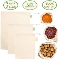 Muslin Produce Bags - Organic Cotton Reusable Eco Bag - 3 Sizes in Set of 6 + 1 Storage Bag - Strong - Durable - with Drawstring - Tare Weight on Tag - Grocery and Storage Food Bag