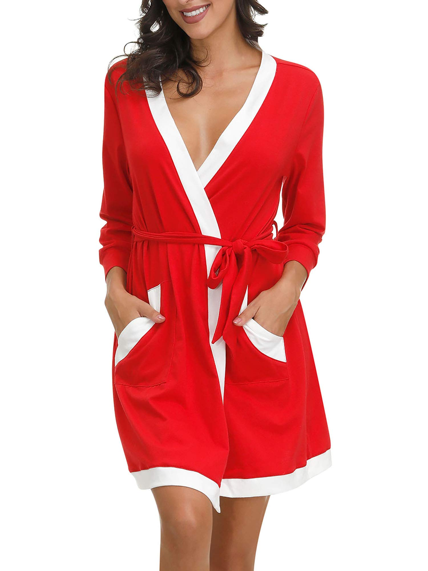 Womens Soft Lightweight Cotton Midi Length Belt Sleep Robe Pocket Bath Robe Sleepwear