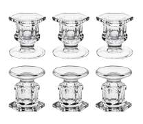 """dedoot Candle Holders, Pack of 6 Glass Candle Holders Centerpiece Clear Candlestick Holders Fit 1.85"""" Pillar or 7/8"""" Taper Candle, Decorative Candle Stand 2.3"""" Height for Table Wedding Party"""